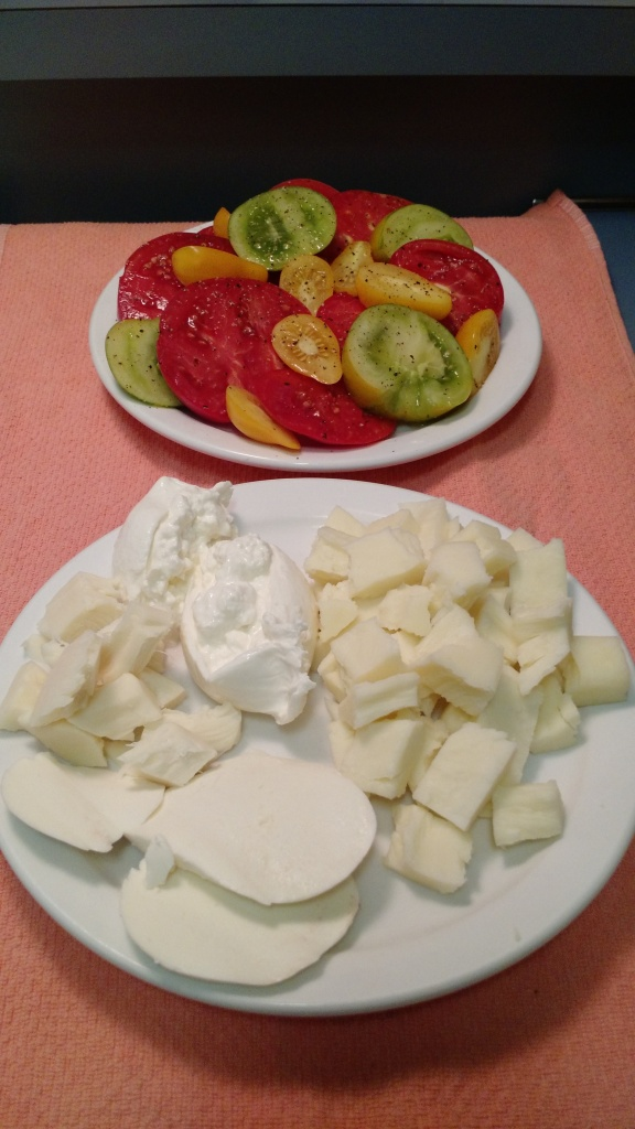 Tomato salad and a bunch of mozzarella cheeses to try!  Going clockwise starting at the top is the Trader Joe's burrata, local mozz from Whole Foods - one from Massachusetts and the next from Vermont, then the basic Trader Joe's mozz
